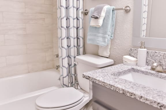bathroom with tile tub surround and granite countertops with upgraded fixtures at Berry Falls Apartments, Vestavia Hills, Alabama