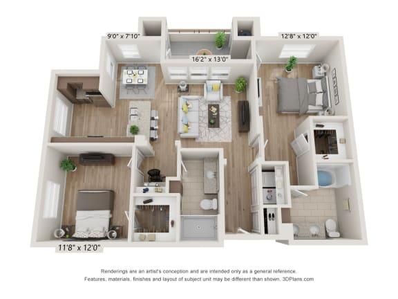 Main Street Village Irvine, CA Angeles Floor Plan 1190 SF