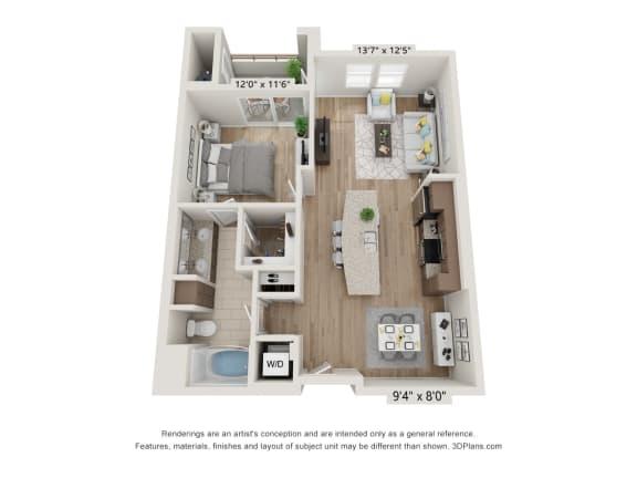 Main Street Village Irvine, CA Cleveland Floor Plan 796 SF