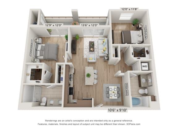 Main Street Village Irvine, CA Inyo Floor Plan 1103 SF