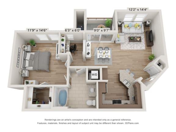 Main Street Village Irvine, CA Klamath Floor Plan 869 SF