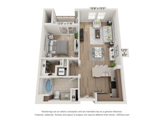 Main Street Village Irvine, CA Lassen Floor Plan 759 SF