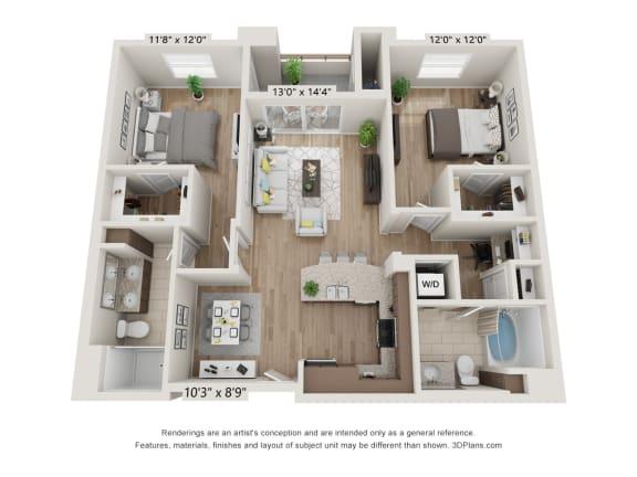 Main Street Village Irvine, CA Mendocino Floor Plan 1134 SF