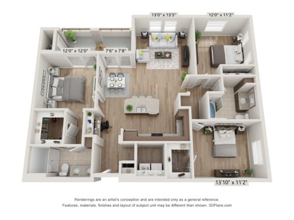 Main Street Village Irvine, CA Plumas Floor Plan 1424 SF