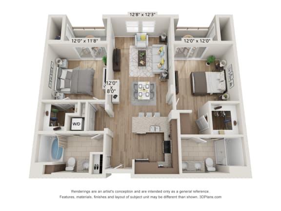 Main Street Village Irvine, CA Sequoia Floor Plan 1063 SF