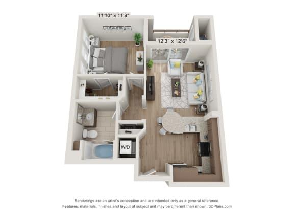 Main Street Village Irvine, CA Tahoe Floor Plan 640 SF