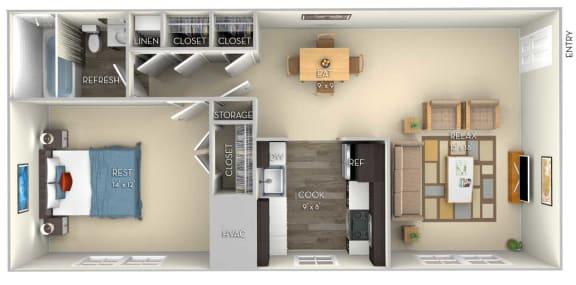Amber Dulles Glen 1 bedroom 1 bath furnished floor plan apartment in Herndon VA