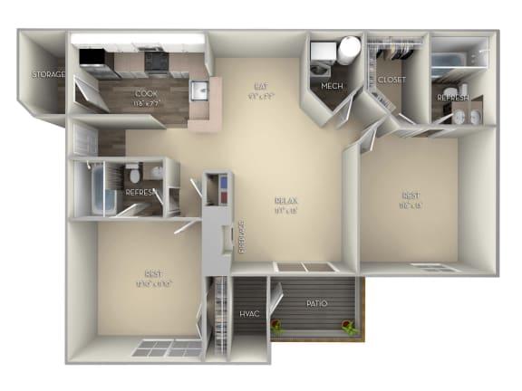 Asten Saratoga Square 2 bedroom 2 bath unfurnished floor plan apartment in Springfield VA at Saratoga Square, Springfield