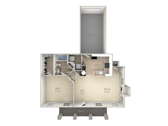 The Augustine Northlake Park 1 bedroom 1 bath floor plan apartment in Orlando FL