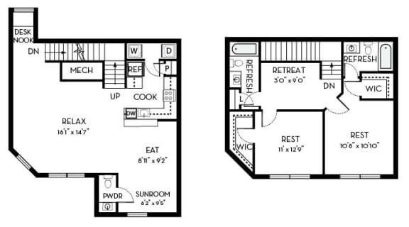 Buchanan Barrington Park 2 bedroom 2 and a half baths floor plan apartment in Manassas VA