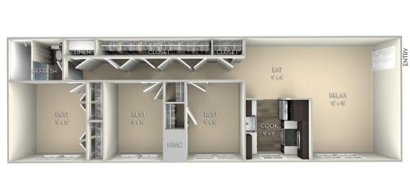 Cameron Dulles Glen  3 bedroom 1 bath unfurnished floor plan apartment in Herndon VA