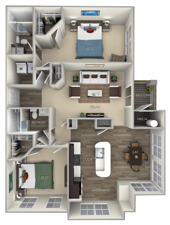 Chestnut Broadlands 2 bedroom 2 bath furnished floor plan apartment in Ashburn VA