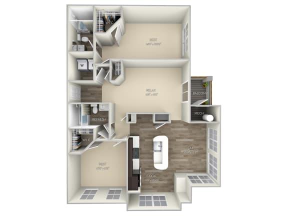 Chestnut Broadlands 2 bedroom 2 bath unfurnished floor plan apartment in Ashburn VA