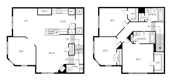 Cleaveland II Barrington Park 3 bedroom 2 and a half baths floor plan apartment in Manassas VA