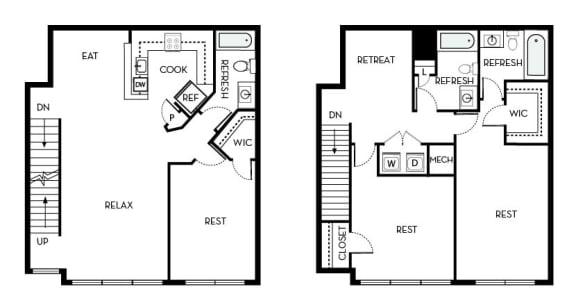 Coolidge Barrington Park 3 bedroom 3 baths floor plan apartment in Manassas VA