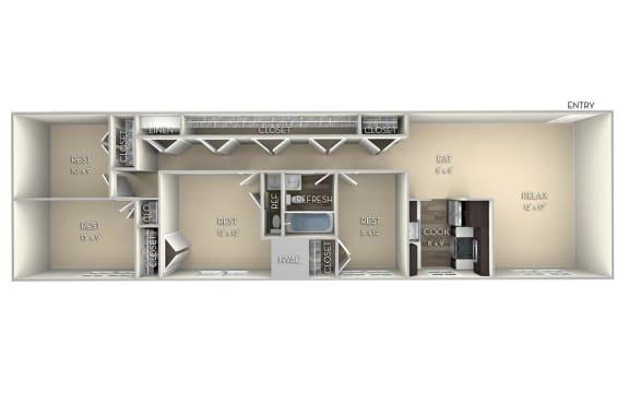 Dominion Dulles Glen 4 bedroom 1andhalf unfurnished floor plan apartment in Herndon VA