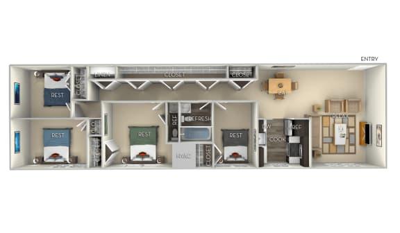 Dominion Dulles Glen  4 bedroom 1andhalf bath furnished floor plan apartment in Herndon VA