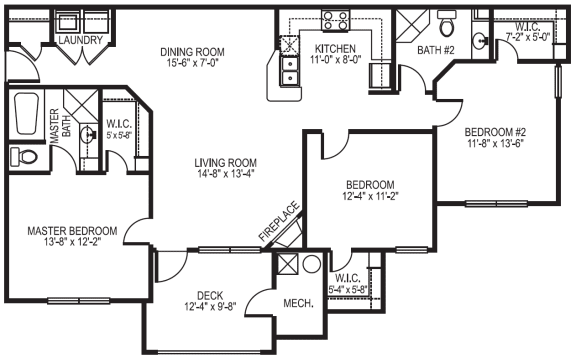 Dover phase I 3 bedroom 2 bath floor plan at Village on the Lake Apartments in Spring Lake NC