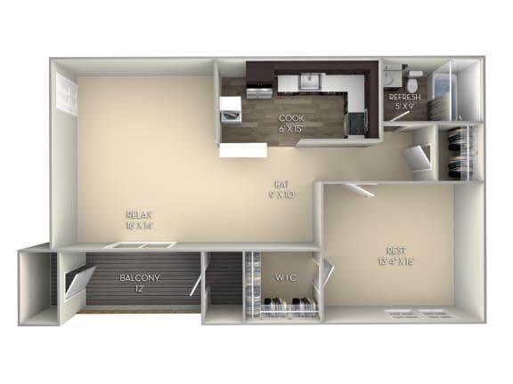 Franklin Middletown Valley 1 bedroom 1 bath unfurnished floor plan apartment in Middletown MD
