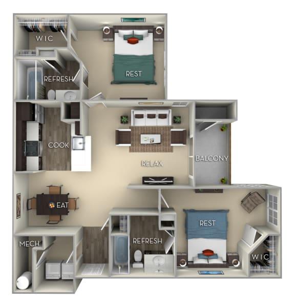 Cardinal Kensington Place 2 bedrooms 2 baths furnished floor plan apartment in Woodbridge VA at Kensington Place, Woodbridge, VA, 22191