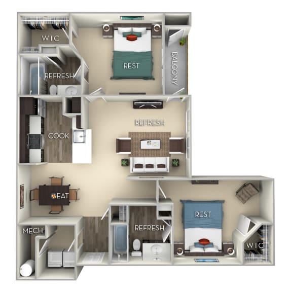 Colonial Kensington Place 2 bedrooms 2 baths furnished floor plan apartment in Woodbridge VA