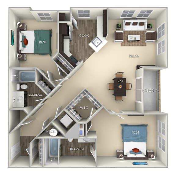 Ellicott Kensington Place 2 bedrooms 2 baths furnished floor plan apartment in Woodbridge VA
