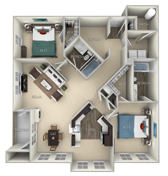 Hoya Kensington Place 2 bedrooms 2 baths furnished floor plan apartment in Woodbridge VA