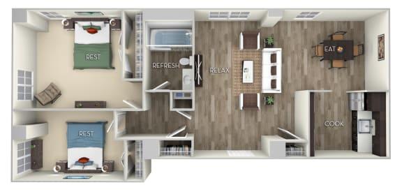 Irving Columbia Uptown 2 bedroom 1 bath furnished floor plan apartment in Columbia Heights Washington DC