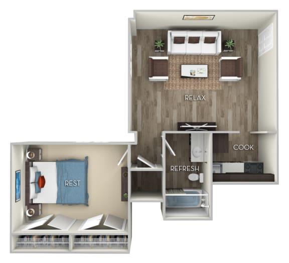 Josephine Columbia Uptown 1 bedroom 1 bath furnished floor plan apartment in Columbia Heights Washington DC