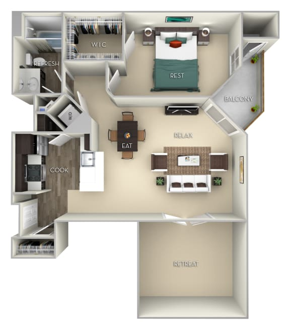 Kingston Kensington Place 1 bedroom 1 bath furnished floor plan apartment in Woodbridge VA