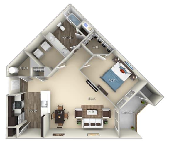 Newcastle Kensington Place 1 bedroom 1 bath furnished floor plan apartment in Woodbridge VA