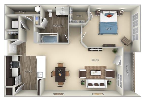 Oxford Kensington Place 1 bedroom 1 bath furnished floor plan apartment in Woodbridge VA