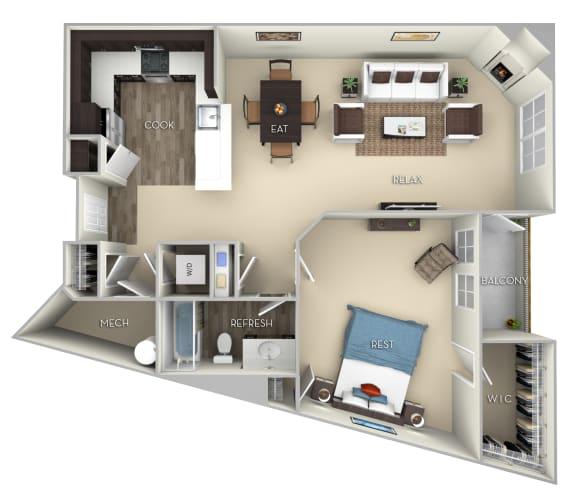 Standford Kensington Place 1 bedroom 1 bath furnished floor plan apartment in Woodbridge VA