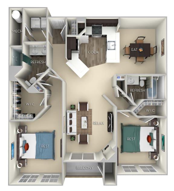 Terrapin Kensington Place 2 bedrooms 2 baths furnished floor plan apartment in Woodbridge VA