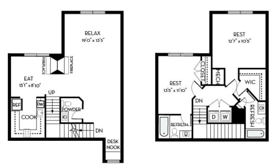 Garfield Barrington Park 2 bedroom 2 and a half baths floor plan apartment in Manassas VA