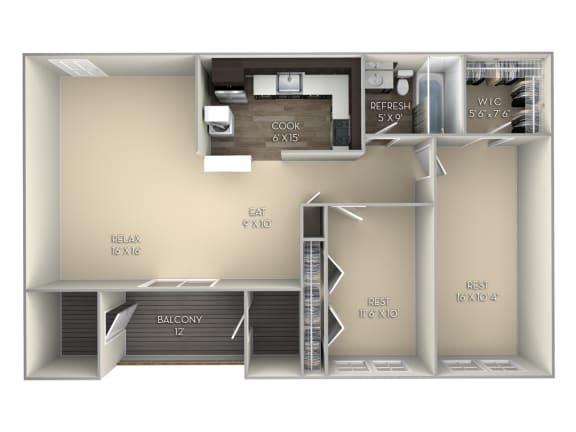 Glenbrook Middletown Valley 2 bedroom 1 bath unfurnished floor plan apartment in Middletown MD