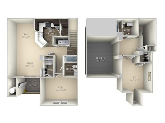 Hawthorne Broadlands 2 bedroom 2 bath unfurnished floor plan apartment in Ashburn VA