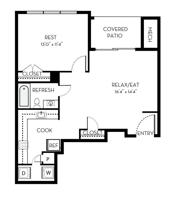 Jackson Barrington Park 1 bedroom 1 bath floor plan apartment in Manassas VA