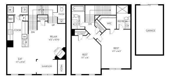 Lincoln Barrington Park 2 bedroom 2 and a half baths floor plan apartment in Manassas VA