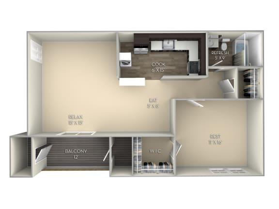 Linden Middletown Valley 1 bedroom 1 bath unfurnished  floor plan apartment in Middletown MD