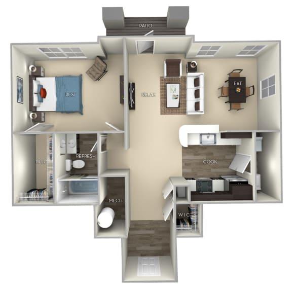 Maple Broadlands 1 bedroom 1 bath furnished floor plan apartment in Ashburn VA