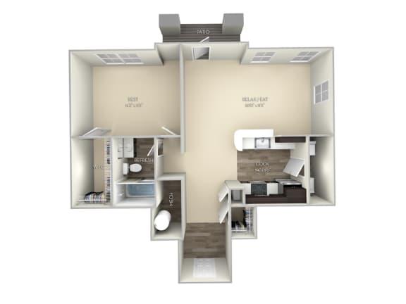 Maple Broadlands 1 bedroom 1 bath unfurnished floor plan apartment in Ashburn VA