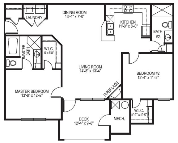 Marina phase I 2 bedroom 2 bath floor plan at Village on the Lake Apartments in Spring Lake NC