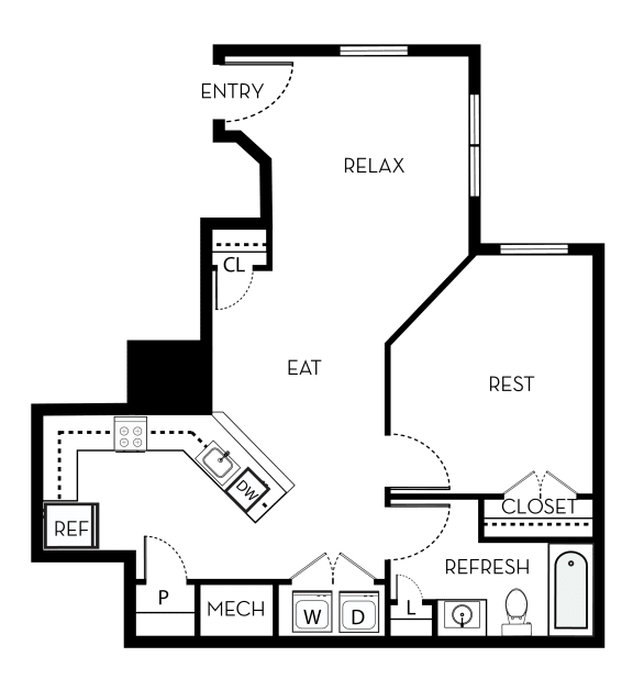 Monroe Barrington Park 1 bedroom 1 bath floor plan apartment in Manassas VA