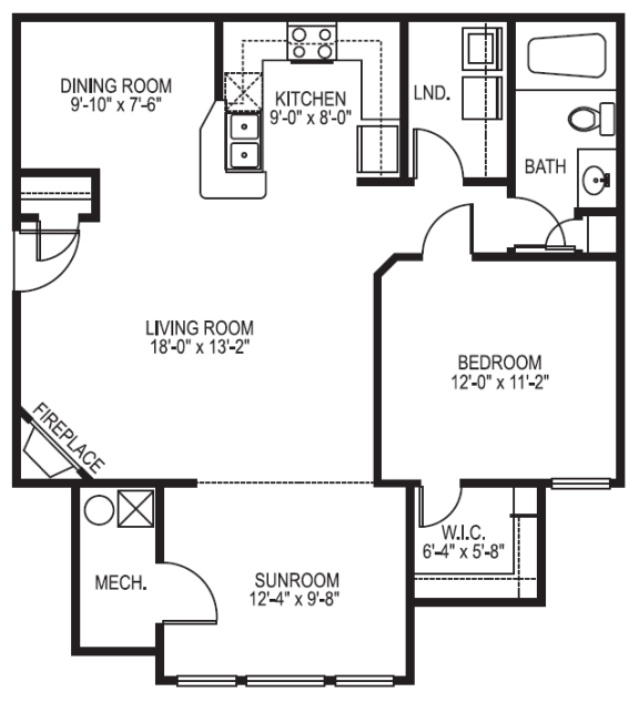 Nantucket phase I 1 bedroom 1 bath with sunroom floor plan at Village on the Lake Apartments in Spring Lake NC