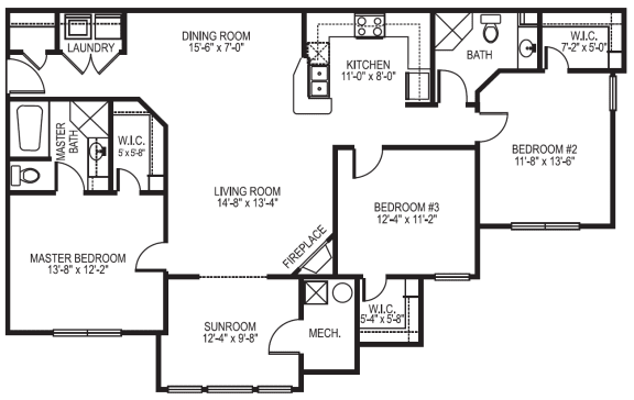 Newport phase 1 3 bedroom 2 bath with sunroom floor planat Village on the Lake Apartments in Spring Lake NC