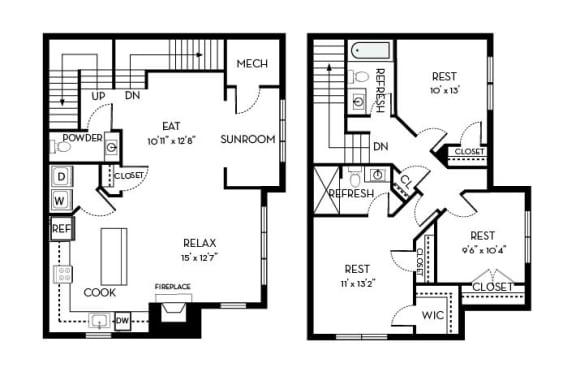 Roosevelt I Barrington Park 3 bedroom 2 and a half baths floor plan apartment in Manassas VA
