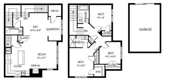 Roosevelt II Barrington Park 3 bedroom 2 and a half baths floor plan apartment in Manassas VA