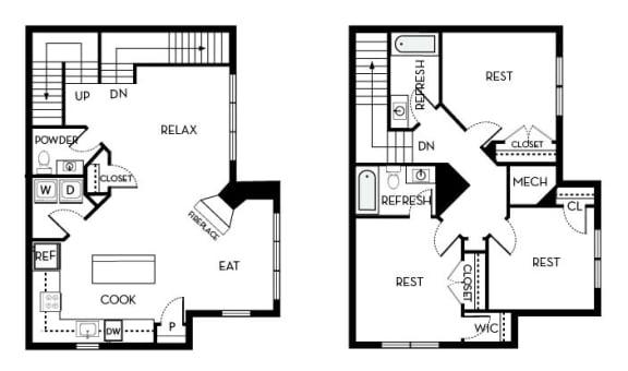 Roosevelt III Barrington Park 3 bedroom 2 and a half baths floor plan apartment in Manassas VA