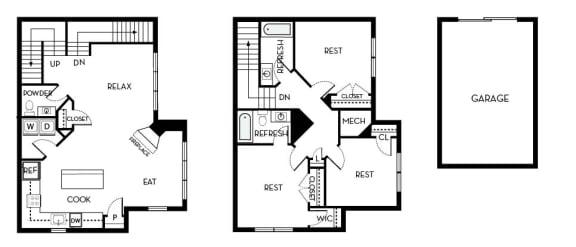Roosevelt IV Barrington Park 3 bedroom 2 and a half baths floor plan apartment in Manassas VA